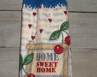 No Button/Pull Through Crochet Top Vintage Kitchen Hanging Dishtowel Cherries Home Sweet Home Blue Checksl Handmade by HCF&D RTS