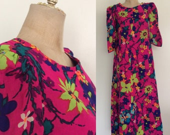 1970's Cotton Pink Floral Maxi Dress w/ One Pocket Size Small Medium by Maeberry Vintage