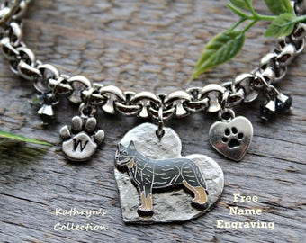 Blue Heeler, Australian Cattle Dog Bracelet, Heeler Mom, Blue Heeler Gift, Cattle Dog Gift, Free Name Engraving, Read All Listing Details