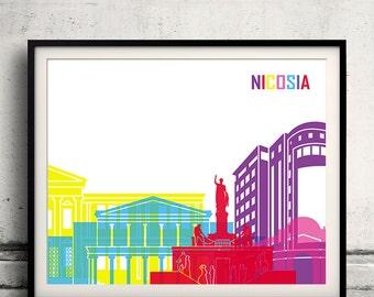Nicosia Pop Art Skyline   Fine Art Print Glicee Poster Decor Home Gift  Illustration Wall Art