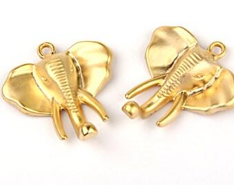 Gold Elephant Head Pendant, Tribal Elephant Pendant, 2 pieces // GP-356