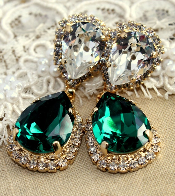 Emerald chandelier earring estate earrings drop emerald like this item mozeypictures Gallery