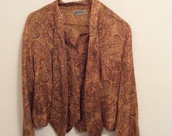 70s orange paisley blouse