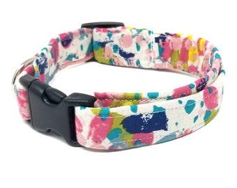 Watercolor Dog Collar/Summer Dog Collar/Pet Collar/Colorful Collar/Colorful Dog Collar/Colorful Pet Collar/Dog Collar/Dog Collar and Bow Tie