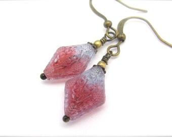 Vintage Glass Earrings, Cranberry Earrings, Art Nouveau Glass Earrings, Dangle Earrings, Art Deco, Bridesmaid Earrings, Victorian Earrings