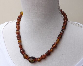 autumn necklace, brown glass necklace, Indian glass necklace, glass beads necklace,