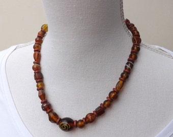 Herbst-Halskette, braun Glas Halskette, indische Glasperlen Halskette, Glas-Perlen-Halskette,
