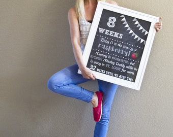 Printable Pregnancy Countdown Chalkboard Photo Prop Sign - Set of 9