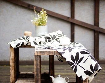 Table runner - White linen table runner with black leaves - Easter linen table top - floral table runner - Linen runner- Black white runner