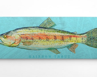 "Outdoor Gift, Outdoorsman Gift, Fish Art, The Big One Art Block, Pick the Print, 6.5"" x 18"", Wall Art for Men, Fish Nursery Decor"
