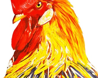 Rooster 8x10 Art Print, Watercolor