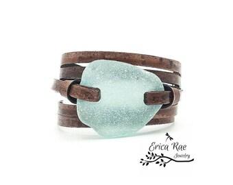 Beach glass leather wrap bracelet, antique dark leather bracelet, blue green sea glass cuff, boho jewelry,  beach jewelry,  adjustable