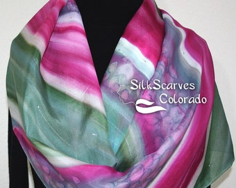 Silk Scarf Handpainted. Pink, Sage Green Hand Painted Shawl. Handmade Silk Wrap ROSE GARDEN. Large 14x72. Birthday Gift. Gift Wrapped