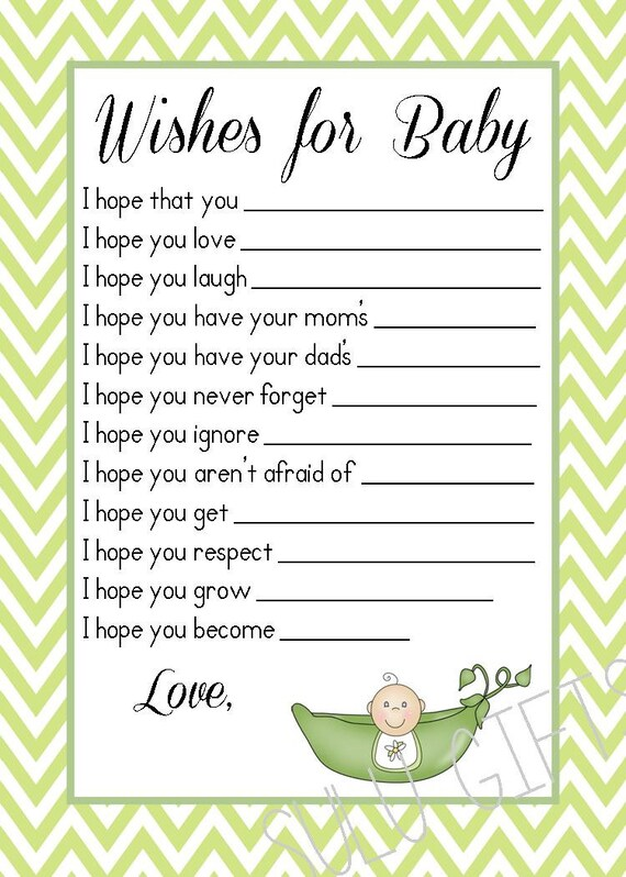 SALE Pea In A Pod Sweet Pea Baby Shower Wishes For Baby Well