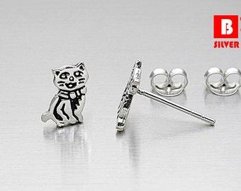 925 Sterling Silver Oxidized Earrings, Cat Earrings, Animal earrings, Stud Earrings (Code : K12A)