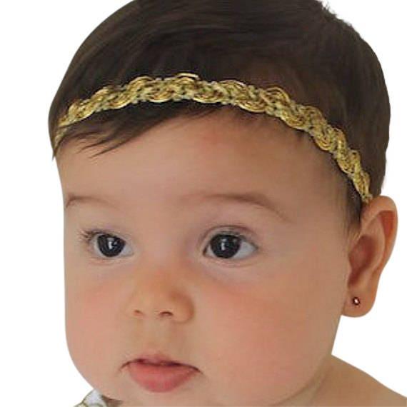 Gold Headband, Gold Baby Headband, Baby Headband, Infant Headbands, Baby Girl Headpiece, Baptism Headpiece, Christening Headband