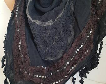 La Vie en Rose - Exclusive Black Oversize Scarf Winter Fashion Shawl Scarf Cowl Scarf Gift Ideas for Her Women Fashion Accessories