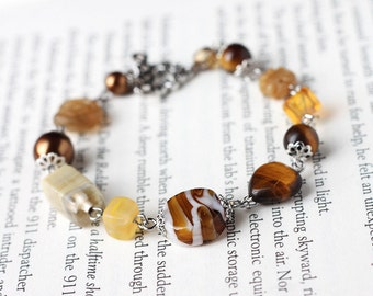 Brown Rustic Bracelet with Lampwork Glass, Tiger's Eye Gemstone, Czech Beads and Glass Pearls - Autumn Fall Weddings Bridesmaid Jewelry