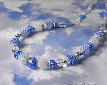 When Clouds meet the sky beadwoven blue necklace