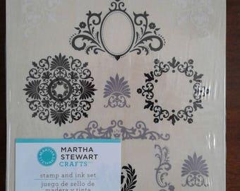 Martha Stewart Crafts | Stamp and Ink Set | 13 PC | Flourish Wooden