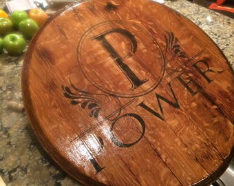 Wine Lovers Lazy Susan made from reclaimed Napa Valley wine barrel heads.