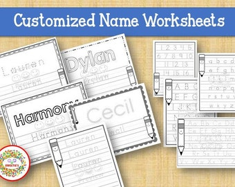 Kids Name Tracing Worksheet, Learn to Write, Learn to Write Name, Practice Writing, Handwriting, Child's Name, Personalized Worksheets