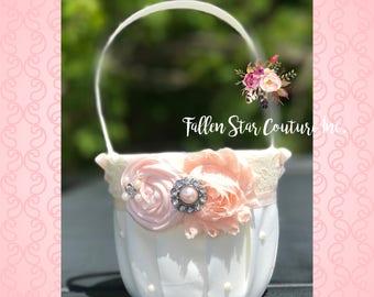 Blush Flower girl basket / rustic wedding basket / blush pink wedding / wedding basket