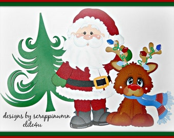 Christmas Scrapbook Page Embellishment Boy Girl Paper Piecings Set Elite4u