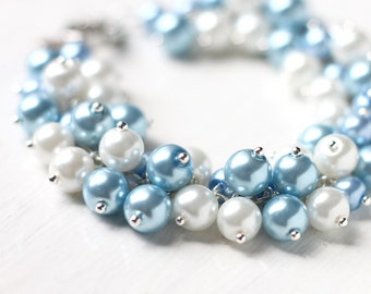 Light Cornflower Blue Bridesmaid Jewelry Pearl Cluster Bracelet - For Blue Weddings and Brides