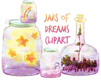 Jars Of Dreams Clipart, Bottles clip art, clipart, for personal and commercial use, instant download, scrapbooking, planner stickers
