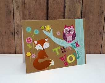 Thank You Card, Fox and Owl Thank You Card, Cute Thank You Card, Woodland Creatures Card