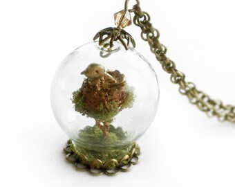 Roxas necklace etsy golden bird nest necklace miniature romantic nature jewelry terrarium globe dome by colleen aloadofball Images