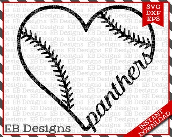 Panthers Baseball Love SVG DXF EPS Cutting Machine Files Silhouette Cameo Cricut Panthers Vinyl Cut File Softball Vector svg file