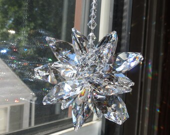 Large Swarovski Crystal Starburst, Cluster Swarovski Crystals, Made With 28mm Clear Octagons, For Home Window, Swarovski Clear SunCatcher