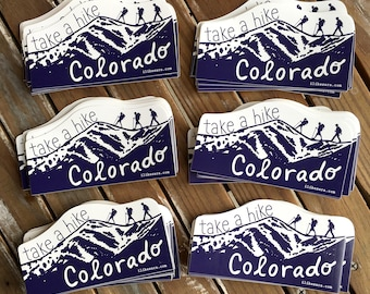 Take A Hike Colorado - UV-resistant waterproof vinyl diecut decal sticker by Sara Schalliol-Hodge