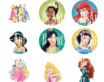 1 inch circles of Disney Princess Bottle cap images, Digital file, Instant Download, Cinderella, Belle, Tangled etc...