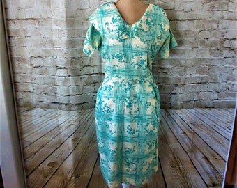 Woman's dress vintage mid-length teal and cream short sleeve