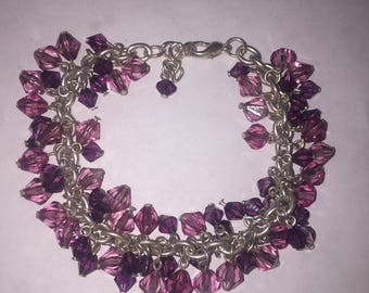 ONE Sterling Silver Pink & Purple Crystal Beaded Bracelet
