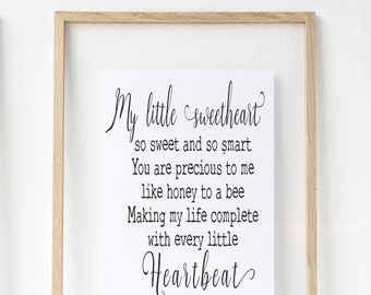 A4 digital download, sweetheart poem, sweetheart quote, original poem, original quote, digital file, wall decor, wall art, home decor,