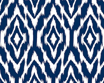 Ikat Print Fabric by the Yard - Navy and White