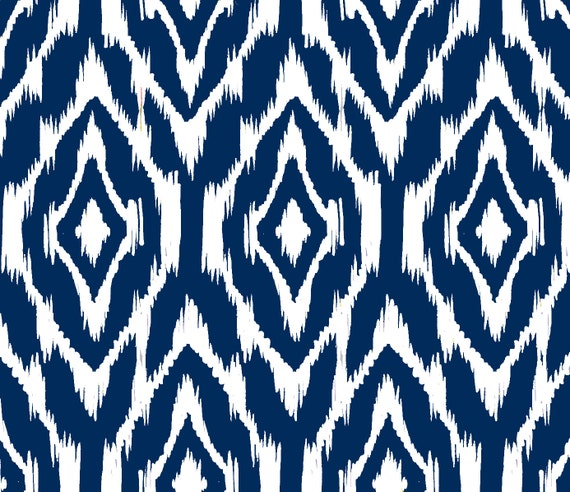 Ikat Print Fabric by the Yard Navy and White