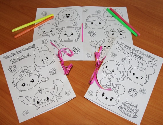 Tsum Tsum Fiesta De Cumpleaños Para Colorear Páginas Libro De: Tsum Tsum Birthday Party Coloring Pages Tsum Tsum Activity