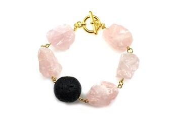 Pink Statement Bracelet, Pink Bracelet, Rose Quartz Jewelry, Pink Jewelry, Black Lava Jewelry, Quartz Statement Bracelet, Wabi Sabi Jewelry