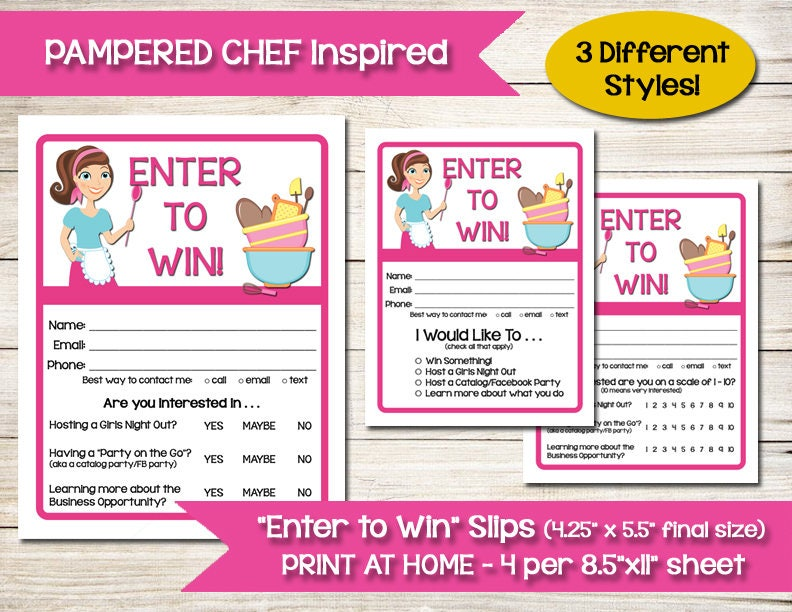 PAMPERED CHEF TUPPERWARE Enter to Win Door Prize