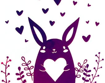 HOLOGRAPHIC, CHROME, Bunny, Love, Valentine's Day, Vinyl Decal