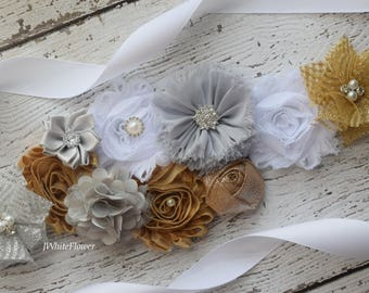Gold white grey sash, flower Belt, maternity sash, wedding sash, flower girl sash, maternity sash belt