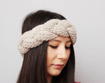 Knit braided  earwarmer headband in beige -COLOR OPTION available