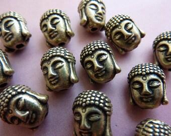 10 buddha beads, buddha head, bronze