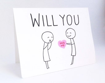 Cute Lesbian Valentines Day Card // Funny Card for Her // Humorous Girlfriend Card // Whimsical Love Card // Will You Be Mine // Hug Me