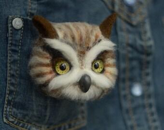 Brooches owl 3D owl bird Brooch bird Felted brooch owl Needle felted owl Bird felt miniature Birds felt Miniature owl Miniature bird 3D bird